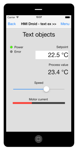 HMI Droid for iOS - text objects labels