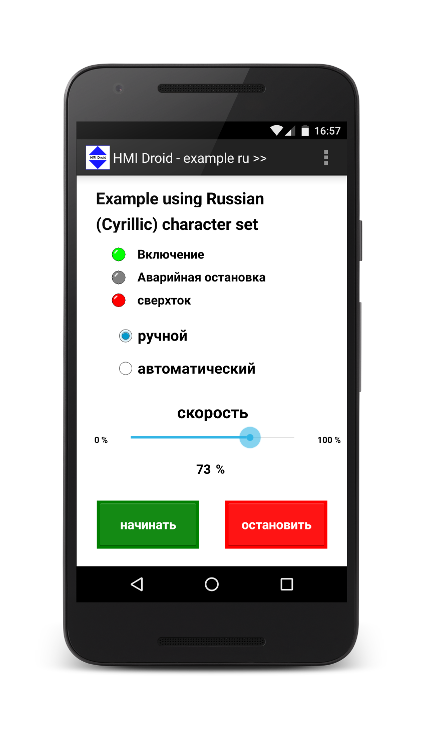 HMI Android russian cyrillic character set