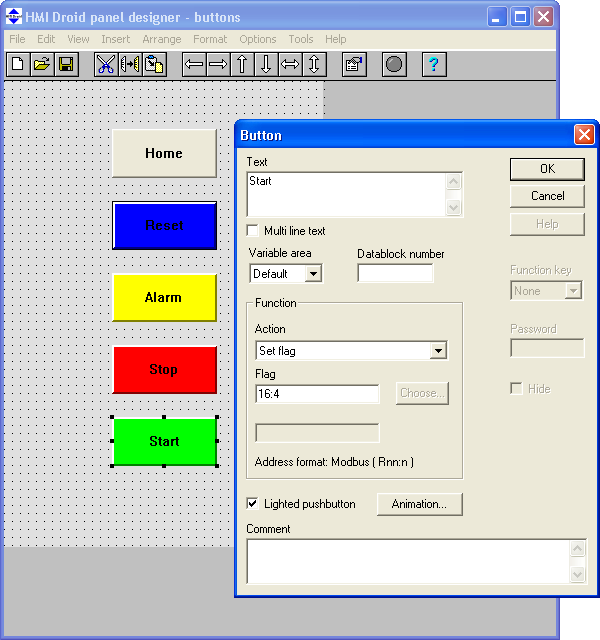 HMI Droid panel designer button dialog