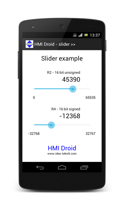 Slider Bar HMI Droid Android app phone tablet
