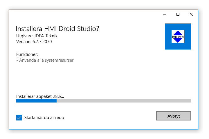 HMI Droid Studio as Windows 10 Desktop app