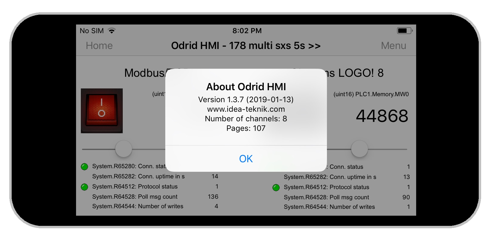 Odrid HMI 1.3.7 on an Iphone 5s