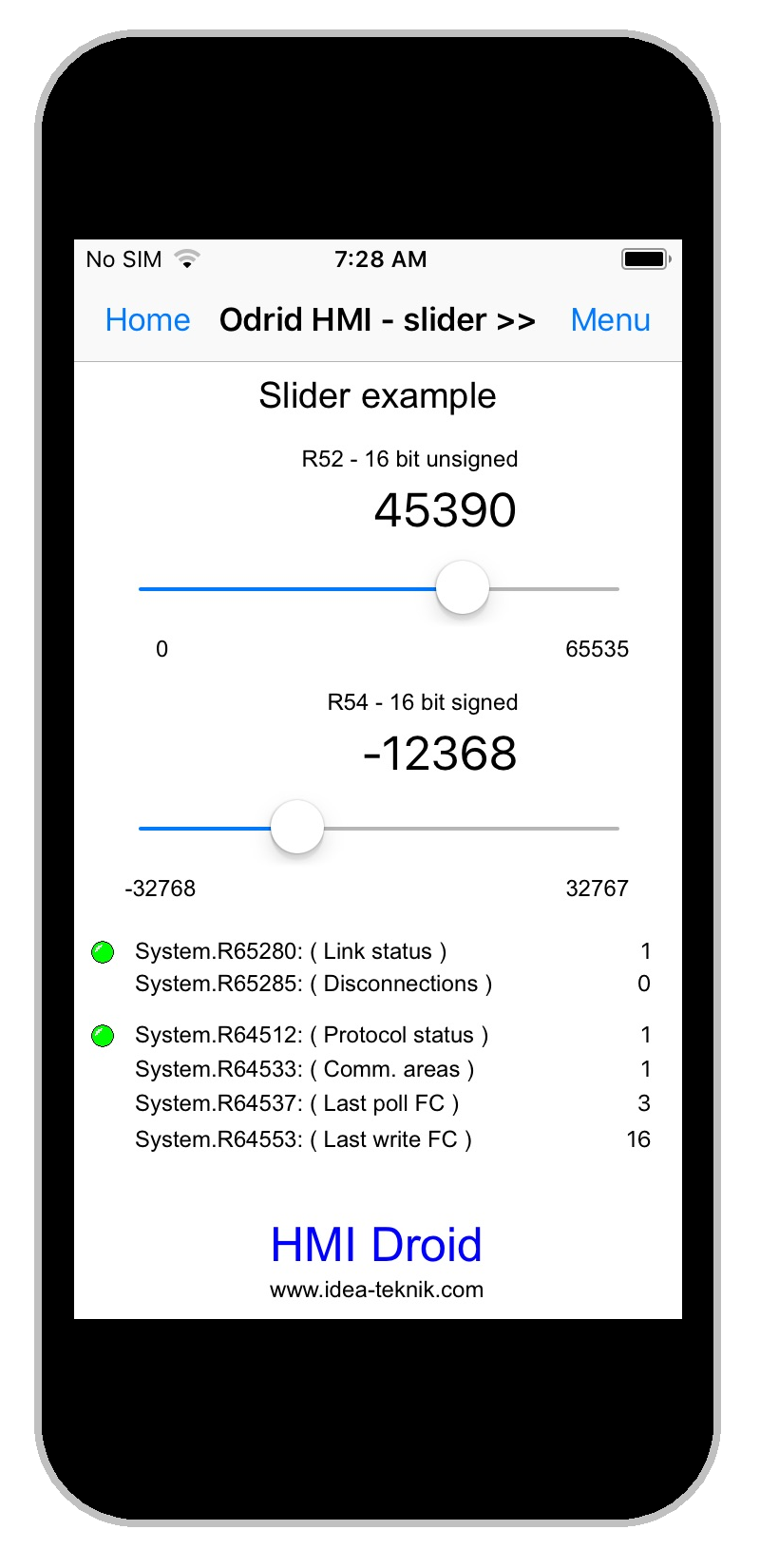 HMI Droid for iOS - Slider example