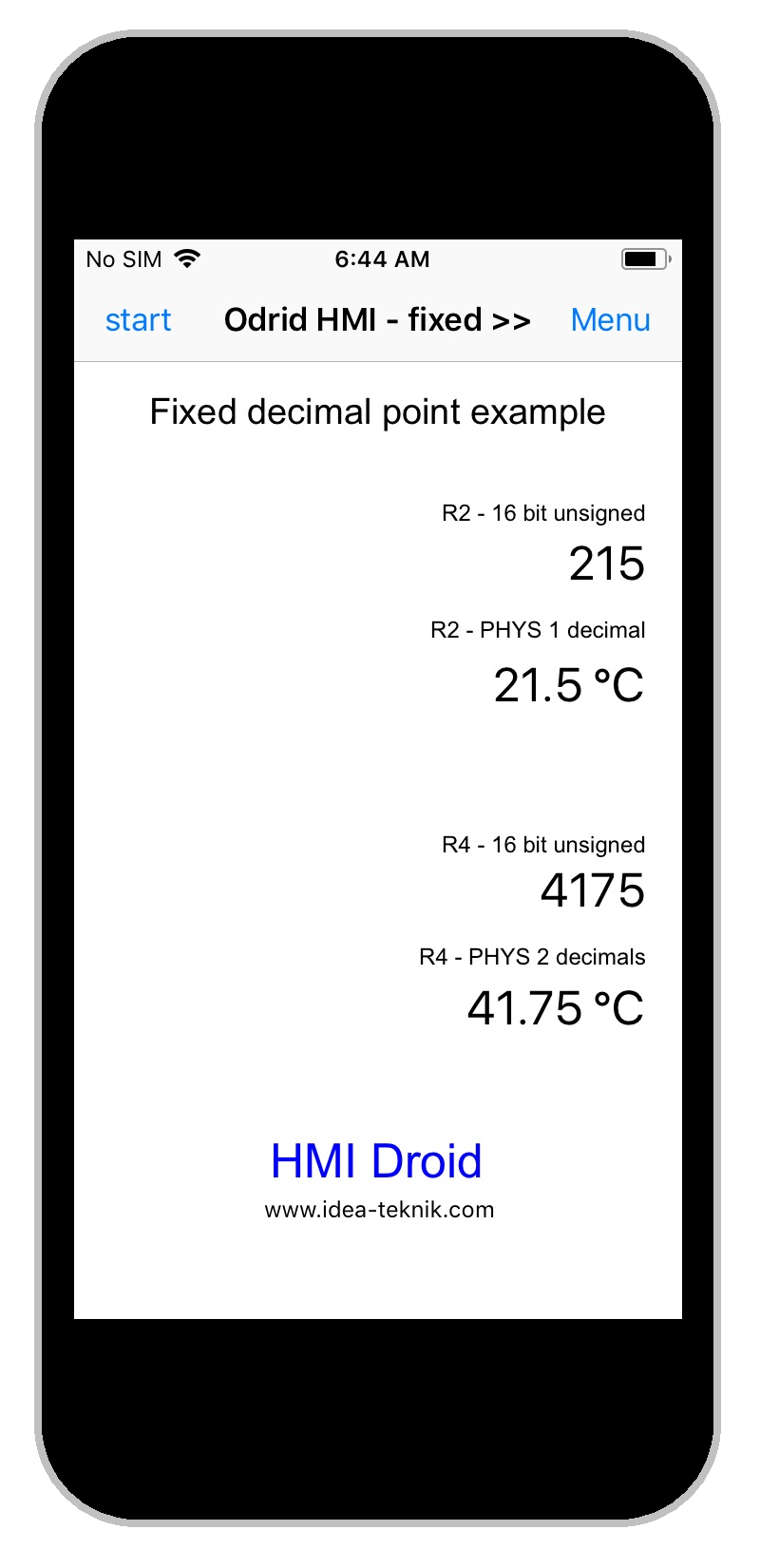 HMI Droid for iOS - fixed decinal point