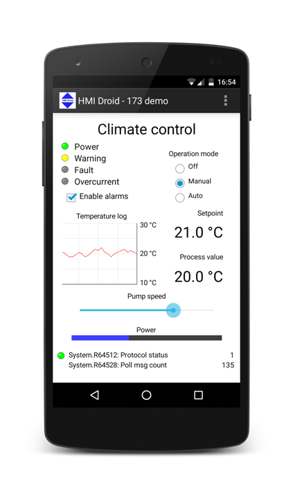 HMI Droid on Android device