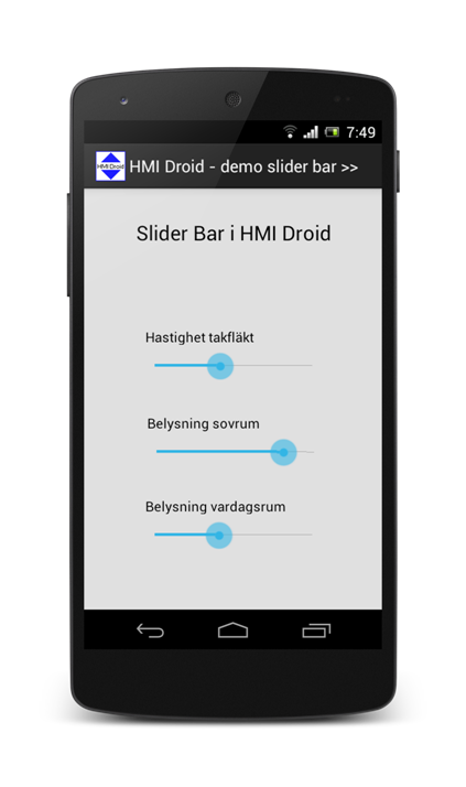 HMI android slider app